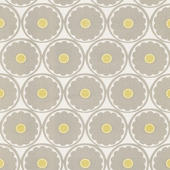 Kenneth James - Flower Power Light Gray Retro Floral Wallpaper - For an instant retro revival, freshen up your dining room or sitting room with this fun flower power wallpaper. You might think your living room is just a big square but with these sunny yellow centered gray and white flowers on the walls, everything's groovy!
