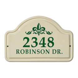 White Hall Products - White Hall Fleur De Lis Ceramic Arch Address Plaque - 2631RD - Shop for Address Numbers Letters and Plaques from Hayneedle.com! The White Hall Fleur De Lis Ceramic Arch Address Plaque offers a handsome way to add your address to your outdoor decor. This plaque is made of durable ceramic and has 2 lines for both the number and the address. The Fleur De Lis graphic and numerals are available in a variety of color options. Easy to install and easy to identify from the street.About Whitehall ProductsWhitehall Products are known as the world s leading manufacturer of weathervanes and is equally as respected for their high quality personalized home wall plaques. They also offer a wide variety of mailboxes garden accents hose holders birdbaths bird feeders sundials and more. Each offers an original design and is hand cast for the highest quality product available. Based in Montague Michigan Whitehall has been producing these popular products for over 65 years.