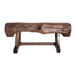 Groovy Stuff - Beam Style Backless Rustic Bench - Unbelievably unique, this Feed Trough Garden Bench is just the right touch for a garden area in your back yard.  The rugged teakwood piece is a great place to just stop and relax on a warm summer day.  The finish and design are inspired by farm materials from yesteryear.  You'll love this bench inspired by farm materials of yester year.  The rugged teakwood looks natural in your outdoor spaces and is a perfect place to stop and sit a spell in the warm summer sun. * Add a simple seating option to your backyard, farm, or garden with this backless bench in the shape of a support beam.. This subtle offering blends in easily in any room or outdoor decor, making it a great purchase for extra seating at parties and social events.. LxWxH: 48 x 9 x 18 (inches). Reclaimed teakwood furniture creates this great rustic look.. Bring a bygone era of farm plows & wagons to your home or business.. Each unique piece is suited for both indoor and outdoor use.. Please Note: Due to the unique nature of each piece of wood and the materials used, no two items are exactly alike. These items can vary in dimension, weight and color from the shown image and the listed information