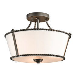 Kichler Lighting - Kichler Lighting 43342OZ Donington Traditional Semi Flush Mount Ceiling Light - Inspired by the historic estates of presidents past, this 3 light semi flush from the Donington collection is a unique interpretation of traditional Williamsburg style. Simple iron rope detailing and a rich, Olde Bronze™ finish accentuates the off-white fabric shades, creating a classic look that works with a variety of decorating schemes.
