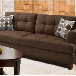 Chelsea Home Morris Sofa - Calcutta Coffee - Like a strong cup of coffee, the Chelsea Home Morris Sofa - Calcutta Coffee will wake up your style. Modern looks with traditional comfort are what make this gorgeous sofa a favorite. The rich coffee upholstery and tufted back give you style that won't quit.About Chelsea Home FurnitureProviding home elegance in upholstery products such as recliners, stationary upholstery, leather, and accent furniture including chairs, chaises, and benches is the most important part of Chelsea Home Furniture's operations. Bringing high quality, classic and traditional designs that remain fresh for generations to customers' homes is no burden, but a love for hospitality and home beauty. The majority of Chelsea Home Furniture's products are made in the USA, while all are sought after throughout the industry and will remain a staple in home furnishings.