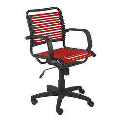 Euro Style - Bungie Flat Mid Back Red/ Graphite Black Office Chair - This comfortable office chair features a flat, bungie cord backrest and seat. A pneumatic height adjustment raises the seat from 17.5 inches to 21.5 inches high, while soft armrests and five caster wheels complete the design of this stylish office chair.