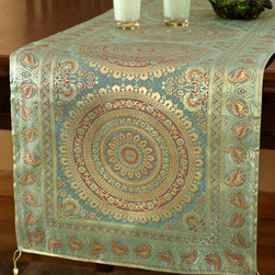 """Elegant Table Runners - Unique """"Exotic Oriental Table Runner"""" Golden Jadegreen color. Hand crafted in India. Green Gold"""