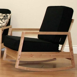 Dorel Home Products - Baltic Rocking Chair - Includes textured polyester detachable cushions. Sturdy and durable armrests provide stability. Black pocket coil cushions for ultimate comfort. Warranty: One year. Frame made from wood. Natural finish. Cushions: 25.2 in. W X 24.4 in. D X 6 in. H. 26.5 in. W x 32.5 in. D x 27.6 in. H (25 lbs.). Assembly InstructionsThe Baltic Rocking chair offers classic simplicity suitable for any room.