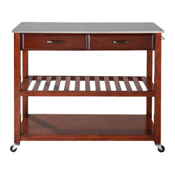Crosley Furniture - Kitchen Cart in Classic Cherry Finish - Stainless steel top. Hand rubbed and multi-step finish. Raised panel drawer front. Antique brass finish hardware. Adjustable and removable shelf. Towel bar. Heavy duty caster for mobility. Warranty: 90 days. Made from solid hardwood, wood veneers and stainless steel. 42 in. W x 18 in. D x 36 in. H (75 lbs.). Assembly instructions - Kitchen cart/ IslandThis mobile kitchen cart is designed for longevity. The handsome raised panel drawer fronts provide the ultimate in style to dress up any culinary space. Two deep drawers are great for holding essential items, such as utensils or storage containers. Remove the shelf completely to allow for storing larger objects. When the cabinet is where you want it, simply engage the locking casters to prevent movement. Style, function, and quality make this mobile solution a wise addition to your home.