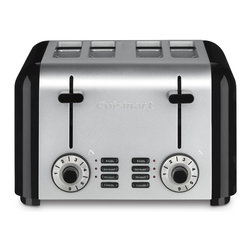 Cuisinart - Cuisinart CPT-340 Brushed Stainless Steel 4-slice Toaster - The classic stainless steel toaster gets a modern update with this toaster by Cuisinart. Whether making thick bagel halves or thin sliced breads, the wide slots, high-lift carriage and custom controls ensure even, precise and convenient toasting.