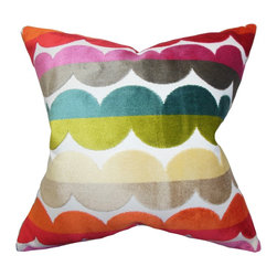 "The Pillow Collection - Xoise Geometric Pillow Bold 18"" x 18"" - This exciting statement pillow features a bright and bold color palette which will bring a festive mood into your home. This square pillow brings a captivating texture to your sofa, bed or seat. Constructed with a combination of 60% polyester and 40% velvet material, this 18"" pillow makes your interior more stylish and comfortable. Hidden zipper closure for easy cover removal.  Knife edge finish on all four sides.  Spot cleaning suggested."