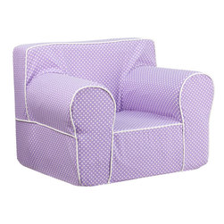 Flash Furniture - Flash Furniture Oversized Lavender Dot Kids Chair with White Piping - This comfy foam chair is a fun piece of furniture for children to enjoy for reading and relaxing. The lightweight design with carrying handle will allow this chair to be toted in several locations. The slipcover can be removed for cleaning or spot cleaned upon accidents.