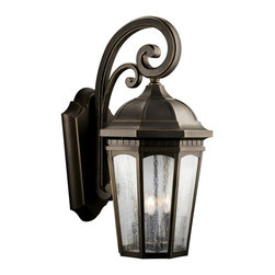 Kichler 3-Light Outdoor Fixture - Rubbed Bronze Exterior - Three Light Outdoor Fixture Uncluttered and traditional, this attractive wall lantern from the courtyard collection adds the warmth of a secluded terrace to any patio or porch. What a welcoming beacon for your home`s exterior. Done in a rubbed bronze finish with clear-seedy glass. 3-light, 60-w. Max. Width 12-1/2, height 26-1/2, extension 16-1/2. Height from center of wall opening 12-3/4. Backplate size: 8-1/2 x 16. U. L. Listed for wet location.