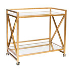 """Kathy Kuo Home - Kerry Hollywood Regency Gold Leaf Mirror Serving Bar Cart - Roll out some gilded glamour with a mirrored serving cart. Twin shelves hold glasses, bottles, an ice bucket and all of your serving essentials. Four wheels make transporting your temptations a breeze. Open, gold """"X"""" shapes adorn both sides of this architectural piece."""