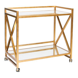 "Kathy Kuo Home - Kerry Hollywood Regency Gold Leaf Mirror Serving Bar Cart - Roll out some gilded glamour with a mirrored serving cart. Twin shelves hold glasses, bottles, an ice bucket and all of your serving essentials. Four wheels make transporting your temptations a breeze. Open, gold ""X"" shapes adorn both sides of this architectural piece."