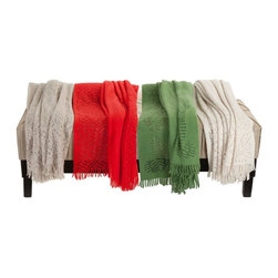 Lacozee - Lacozee-Cashmere Feel Cut-Work Design Throw, Imported from Portugal, Green - Super soft, cashmere softness feel, luxurious imported from Portugal unique cutwork design throw – blankets, edged with fringes. The throw blanket has beautiful exquisite cutwork, each color a unique design. - Emerald Green: Has inlay leave design, Red : Has inlay Heart design, Ivory: has inlay floral design, Taupe has inlay Floral design, all throws are edged with fringes. Care: Machine Washable. Size: 50 x 70. Imported from Portugal.