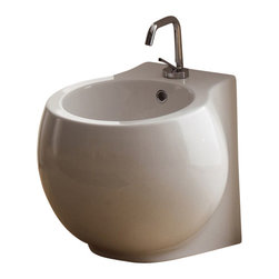Scarabeo - Modern Round White Floor Standing Bidet - Floor standing contemporary and modern round bidet made out of ceramic in a white finish.