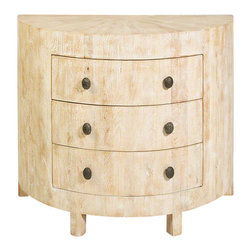 Studio A - Driftwood Demi Lune Chest - Inspired by the soft sandy hues of the seaside, the distinctive look of this chest is achieved by building it out of individual, precision-cut strips of mango wood. Although a tour de force of carpentry, the effect is effortless and casual. To achieve this sun bleached look, the piece is first lightened and then given a subtle creamy wash. The chest is fitted with solid cast iron pulls.