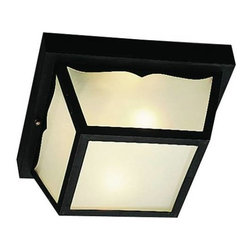 """Kichler - Kichler 9322BK Outdoor Plastic 2 Light Outdoor Black Ceiling Flush Mount () 9322 - Built to stand up to the weather, these attractive polypropylene lanterns are virtually """"maintenance free"""", as they never require painting, will not rust, corrode, or fade. This two light, outdoor Polypropylene Flush Mount features a black finish with frosted white glass.Black Material (Not Painted) finish Frosted white glass U.L. listed for damp locationBulb Included: No Collection: Outdoor Plastic Fixtures Diffuser Description: Frosted White Glass Finish: Black Material (Not Painted) Finish Group: Black Height: 5.5"""" Length: 10.5"""" Max Watt: 60W Number of Lights: 2 Room: Outdoor Lighting Socket 1 Base: Medium Socket 1 Max Wattage: 60 Style: Utility Type: Outdoor Lights UL Listed: Yes Weight: 3.75 LBS Width: 10.5"""""""