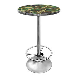 Trademark Global - Hunt Pub Table - Round shape. Lightweight and durable. Full color art. Reverse printed on 0.13 in.. Scratch resistant. UV protective acrylic. Trimmed top. Plastic banding. Chrome base. Adjustable foot rest. Top in camo color. Assembly required. Top: 27.37 in. Dia. x 1.25 in. H. Overall: 27.37 in. Dia. x 42 in. H (36 lbs.)Impress your guests with your table. This fully functional pub table will be a stylish accent to your game room, garage or collection.