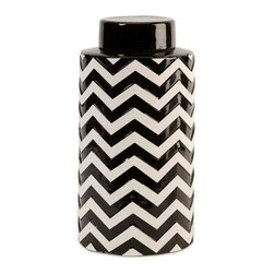 Black and White Chevron Large Canister Jar w/ Lid - *The most popular twist on stripes covers this large lidded canister that looks great in a variety of spaces.