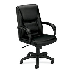 Rulers.com - basyx by HON VL161 Mid-Back SofThread Leather Chair - This mid-back chair allows everyone in the office to experience the performance of an executive chair. The contemporary design features a padded seat, back, and loop arms wrapped in black SofThread leather. The pneumatic seat height adjustment, tilt, and tilt lock are easily within reach.