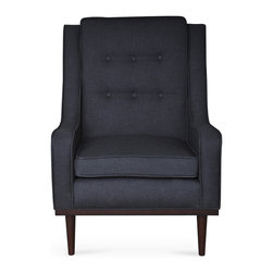Bryght - Nina Graphite Armchair - Mid century modern with a contemporary feel, the Nina chair with its beautiful button tufted back, self welt detailing and smooth tapered legs adds a perfect touch of class to your ambiance