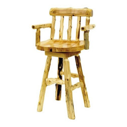 "Fireside Lodge - Traditional Cedar Log Barstool with Arms (Set of 2) - Made from hand - peeled Northern White Cedar logs. Hand peeling leaves the natural character and beauty of the log intact and gives a more rustic appearance. Features: -Barstool with arms. -Traditional Cedar Log collection. -White cedar construction. -Swiveled seat. -Clear coat catalyzed lacquer finish for extra durability. -Northern white cedar logs are hand peeled to accentuate their natural character and beauty. -Wood burning of wildlife on backrest is available. -Contoured seat and backrest for superior comfort. -Individually hand crafted. -Fireside Lodge provides two year limited warranty. Dimensions: -24"": 37"" H x 22"" W x 21"" D, 35 lbs. -30"": 43"" H x 22"" W x 21"" D, 35 lbs."