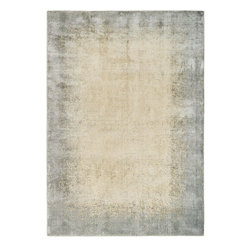 """Nourison - Calvin Klein Home Maya Aurora Vapor Modern Distressed 3'5"""" x 5'5"""" Rug by RugLots - New Zealand Wool Evoking the cool neutral colors of mountain stone, the intricate and textural patterns of these stunning artworks are reminiscent of ancient Mayan artifacts. The custom-blend of pure New Zealand wool and high-performance Luxcelle fibers woven on power looms has a rich silken finish that is beautifully reflective in light."""