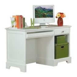 Homelegance - Homelegance Morelle Writing Desk in White - The warmth of cottage living is invoked by the classic styling of the Morelle Collection. The collection is designed with many features perfect for today s casual lifestyle such as a low post bed with simple picture framing and round finials plus molded drawer fronts and satin nickel knobs on the case pieces. The addition of a pull out trundle and toy box offerings further the functionality of the collection. The ability to choose from twin  full  queen  California king and Eastern king bed sizes makes this group perfect for youth bedrooms  guest bedrooms or master bedrooms. Adding to the versatility are two distinct painted finishes  black and white.