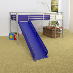 Dorel Home - Dorel Home Junior Fantasy Loft with Slide - Silver - AMW465 - Shop for Bunk Beds from Hayneedle.com! Your child will have endless hours of fun climbing on their bed and going down the slide with the Dorel Home Junior Fantasy Loft with Slide - Silver. This durable bed is crafted out of metal with a silver finish which perfectly accents the bold blue of the slide. Designed to accommodate one twin mattress this loft bed has a guardrail running the length of the bed for added safety. Add the optional tent and your child may never come out of their room again! Great for making their own little fort and play area any child will love this fantastic set-up. Perfect for boys and girls alike this bed meets ASTM and CPC safety specifications and can hold up to 225 lbs.Additional FeaturesMade for use without a box springOptional tent availableTent turns loft bed into a fun fortRail pockets beside the bed ideal for storageAbout Dorel IndustriesFounded in 1962 Dorel Industries is a family of over 26 brands including bicycle brands Schwinn and Mongoose baby lines Safety 1st and Quinny as well as home furnishing brands Ameriwood and Altra Furniture. Their home furnishing division specializes in ready-to-assemble pieces including futons microwave stands ladders and more. Employing over 4 500 people in 17 countries and over four continents Dorel is renowned for their product diversity and exceptionally strong commitment to quality.