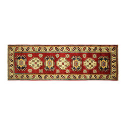 Manhattan Rugs - Traditional Lava Vege Dyed SuperKazak 2'x6' Hand Knotted Wool Oriental Rug H5270 - Kazak (Kazakh, Kasak, Gazakh, Qazax). The most used spelling today is Qazax but rug people use Kazak so I generally do as well.The areas known as Kazakstan, Chechenya and Shirvan respectively are situated north of  Iran and Afghanistan and to the east of the Caspian sea and are all new Soviet republics.   These rugs are woven by settled Armenians as well as nomadic Kurds, Georgians, Azerbaijanis and Lurs.  Many of the people of Turkoman origin fled to Pakistan when the Russians invaded Afghanistan and most of the rugs are woven close to Peshawar on the Afghan-Pakistan border.There are many design influences and consequently a large variety of motifs of various medallions, diamonds, latch-hooked zig-zags and other geometric shapes.  However, it is the wonderful colours used with rich reds, blues, yellows and greens which make them stand out from other rugs.  The ability of the Caucasian weaver to use dramatic colours and patterns is unequalled in the rug weaving world.  Very hard-wearing rugs as well as being very collectable