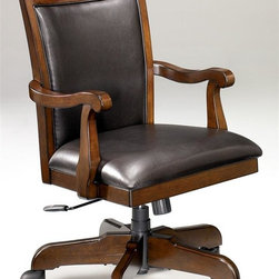 Signature Design by Ashley - Office Chair in Burnished Brown - Made with select Cherry veneers and hardwood solids. Burnished Brown finish. Hardware is finished in a Dark Bronze color. Some assembly required. Assembly Instructions. 24 in. W x 23 in. D x 40 in. H