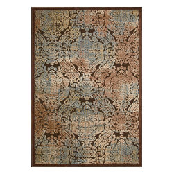 """Nourison - Nourison Graphic Illusions Transitional Distress Antique Chocolate 3'6"""" x 5'6"""" R - Striking, bold patterns define this alluring collection of tantalizing rugs. Featuring an exciting hand-carved, high-low texture and contemporary color palette, these attractive area rugs will add a distinctive flair to any setting. Indulge the senses and make a bold statement with these durable and captivating creations for the floor."""