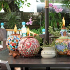 Tropical Lighting Mexican Clay Pottery Oil Lamp / Tiki Torch Lights - Mosaic Design