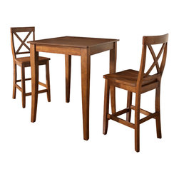 Crosley - 3-Piece Pub Dining Set - Cabriole Leg - X - Back Stools - Cherry - 3-Piece Pub Dining Set Table and 2 Cabriole Leg X-Back Chairs. Enjoy casual dining at its best with a pub table and chairs set. Whether you are looking for dining for two, or just a great addition to the basement or bar, this set is sure to add a touch of style to any area of your home. The rich, hand rubbed, multi-step finish on both the table and coordinating chairs is perfect for enhancing your dining or entertainment room.