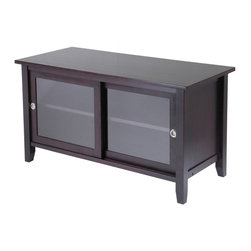 Winsome Wood - Winsome Wood TV Media Stand w/ Sliding Doors in Espresso - Elegant and sleek, this TV stand a new look to your home. Finished in an espresso stain, this TV stand features 2 glass sliding doors opening to a great space to store your TV needs. TV Media Stand (1)