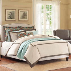 """Hampton Hill - Hampton Hill Plume Duvet Style Comforter Set - The Plume Collection is a clean, simple hotel looking duvet style comforter set in iovry and rich chocolate accents. The duvet style comforter comes in filled, but has a duvet opening, so you can easily clean and care for the top of the bed.The Euro features a polyester jacquard pattern framed with a ribbon detail. A patterned decorative pillow is included to give a complete look. Comforter and sham face: 100% polyester jacquard, comforter and sham back: 100% polyester, Comforter filling: 100% polyester; Euro Sham face&back: 100% polyester jaquard; Pillow 1(14x26"""")cover:100% polyester jac, filling: 100% polyester"""