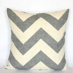 20 x 20 Cream and Grey Blue Chevron Pillow Cover -