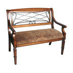 Safavieh - Safavieh Gramercy Iron / Cherry Bench X-A1104HMA - Bathed in the luxurious warm hues of cherry-colored birch wood, the Gramercy bench's soft feminine curves of scrolled wrought-iron are paired perfectly with muted, Old World tapestry-style cotton fabric. It lends an element of unexpected romance to any co