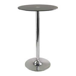 "Winsomewood - Rossi Pub Table Round Black Glass Top With Metal Pedestal Base - Rossi Round Tempered Glass Pub Table is perfect additional for your kitchen or game room. Table top size is 23.62W x 23.62""D. Black tempered Glass top finish with chrome leg and base. Assembly Required"