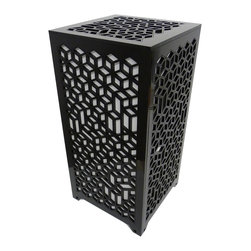 Surface Grooves - PATTAB Lamp 3d Cube, Black - Want the impact of shadow play from your next table lamp? The 3D Cube might be just what you're looking for. With its unique laser-cut design and LED bulb that changes colors, it provides dramatic and mood-setting light for any room.