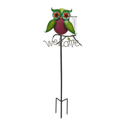 Toland Home and Garden - Rainbow Owl Rain Gauge on Stake - Rainbow Owl Rain Gauge on Stake. Track the weather and accent your garden. Weather resistant and easy to read designs add style to your patio.