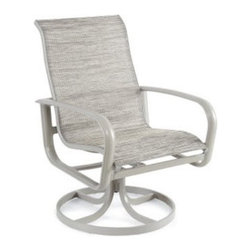 Winston Florentina Aluminum Sling Swivel Tilt Dining Chair - Perfect by the pool, the Winston Florentina Aluminum Sling High Back Swivel Tilt Dining Chair features a quick-dry textilene sling seat and a rocking, swiveling base. Crafted from multi-dimensional aluminum extrusion with a beautiful, modern side ornamentation made from cast iron, this dining chair includes a 15 year warranty on the frame. This chair also includes your choice of frame finish so you can easily match your existing decor. Easy to maintain with soap and water, you can call our Winston product specialist with any questions you may have. No assembly required.This item includes White Glove Freight Delivery, which is a premium service that includes special handling and placement. Upon delivery, the service agent will place and unpack your product in the room of your choice (up to two flights of stairs). Removal of packaging material is also included with this service.About Winston Furniture CompanyStarted in 1975, Winston Furniture Company manufactured simple aluminum furniture with virgin vinyl straps. As the popularity of casual furniture increased and consumers craved comfort, Winston answered the call by being the first company to introduce cushioned, mildew-resistant fabrics for outdoor use. In 1982, Winston was once again at the forefront by adding stylish, easy-to-maintain sling furniture to its product line.Today, the Winston Furniture line is comprised of cushion and sling furniture with a host of styles. A variety of powder-coated paint finishes and sling colors, along with over a hundred fabric selections allow you to create just the look you need. All Winston Furniture product materials are proudly sourced in the U.S.A. Welding is completed in a state-of-the-art manufacturing facility in Juarez, Mexico. Products are shipped to El Paso, Texas for finishing and final inspection before being shipped to your door.Winston Furniture Company, Inc. has earned several design and service awards from retailers over the past 25 years. The most notable of these honors is the National Association of Casual Furniture Retailers's; (NACFR) Casual Furniture Manufacturer Leadership Award. Since the awards' inception in 1990, Winston is a four-time recipient as well as a finalist every year.