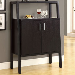 Monarch - Cappuccino 48in.H Bar Unit with Bottle And Glass Storage - This stylish and contemporary 48 in. high bar unit encompasses a design that is ideal for entertaining your guests. It features two doors where you conveniently find a place to hang glasses and a wine rack that can store up to 10 bottles. Its shelving area is great for making cocktails or displaying bar accessories. This cappuccino finished, solid-wood unit is practical, elegant and a must-have in every home!