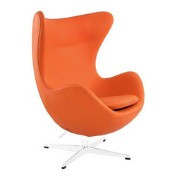 Modway - Glove Leather Lounge Chair in Orange - Delight in perfect symmetry with the harmonious Glove Chair. Designed with sprawling wing tips and amorphous form, the Glove Chair is a study of opposites built from the most exacting design specifications. Layered in fine Italian leather over a cozy foam frame, adorn yourself with precision as you embark on a more sophisticated state.