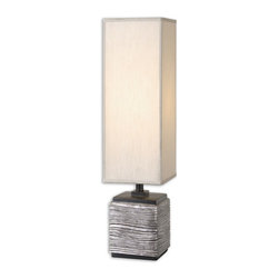 Uttermost - Uttermost Miscellaneous Table Lamp in Lightly Antiqued Silver - Shown in picture: Lightly Antiqued Silver With Matte Black Details. Lightly antiqued silver finish with matte black details. The tall box shade is a silken silver champagne fabric.