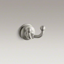 KOHLER - KOHLER Fairfax(R) double robe hook - Featuring soft curves and a unique form, Fairfax accessories bring a sophisticated, elegant design to your bathroom. With two hooks, this robe hanger keeps robes, towels, and clothes within reach and off the floor or counter.
