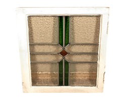 Antiques - Antique English Lead Glazed Stained Glass Window - Country of Origin: England. Circa: 1905. Wood Frame. Lead Glazed Glass. Stained Glass Traditional Design. This is a beautiful antique English lead glazed stained glass window. It has a traditional wooden frame and it features a beautiful *astragal lead glazed textured stained glass window with a distinguished design.  It may show minor age appropriate signs of wear including wood imperfections but as shown it is overall in very good cosmetic and structural condition.