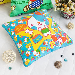 Blancho Bedding - [Shy Puppy] Decorative Pillow Cushion / Floor Cushion (15.8 by 15.8 inches) - This stylish decorative pillow measures 15.8 by 15.8 inches with lovely cartoon pattern.