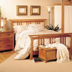 SHINTO BED - East meets West with this Asian style arts and crafts solid hardwood bedroom collection.
