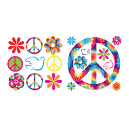 "WallPops - Tie-Dye Peace Wall Decal - This wall art kit is a tie-dyed celebration of peace, love, and happiness. Rainbow colored decals of doves, peace symbols, and groovy flowers are ready to make your walls pop. This pack contains four 13"" by 13"" sheets totaling 37 Pieces."