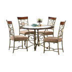 Steve Silver Furniture - Steve Silver Thompson 5-Piece Dining Room Set - Retreat to your corner of the world at this informal 45 Inch round Thompson Table from Steve Silver made of birch wood frame with faux marble inset and metal base. The casual styling of this table with corner-blocked construction and Tongue and groove joints provides carefree comfort for four.