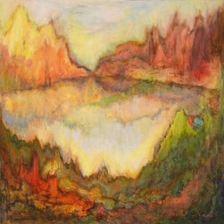 "Gwen Duda Studios - Landscape Abstract Mountain Forest Lake Original Acrylic Painting - This 18"" x 18"" semi-abstract landscape is rich in sumptuous pinks, golds, greens, burnt siennas, brown umbers and forest greens. It features luminescent lit mountains deep green forests and a still as glass pastel-kissed lake. This painting is truly a visual feast!"